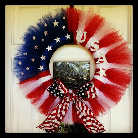 my 4th of july wreath made out of tulle holidays wreaths craft and crafty