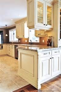 White Kitchen Cabinets What Color Walls Traditional Antique White Kitchen Cabinets Brown Wall