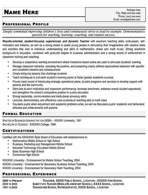 resume templates teachers nagaiiee free resume sles for teachers