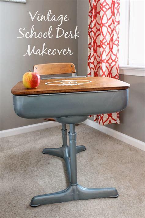 Refinishing School Desk by Vintage Desk Makeover Caiden