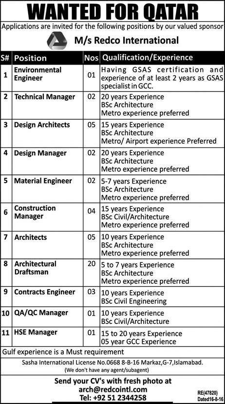 design engineer jobs qatar 14th june 2017 newspaper ad jobs in qatar redco international