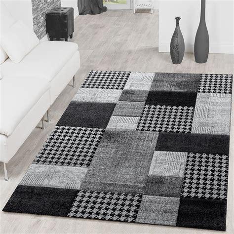 moderne teppiche teppich karo grau anthrazit creme wohnzimmer teppich