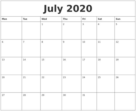 printable calendar monday start july 2020 printable calendar pages