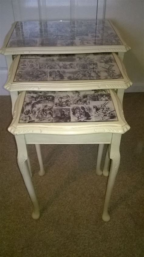 decoupage glass table top looking glass inspired nest of 3 tables decoupage