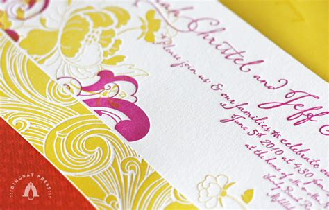 Sarah   Jeff's Modern Floral Pink and Yellow Wedding Invitations