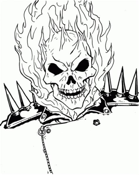 coloring pages fire skulls the burning face of ghost rider coloring page