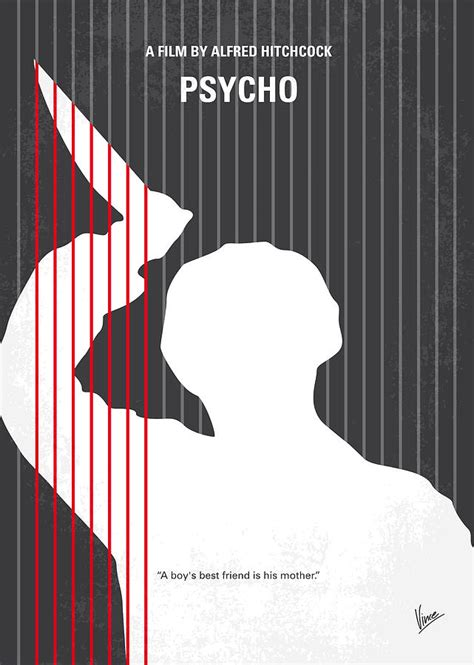 no185 my psycho minimal movie poster digital art by