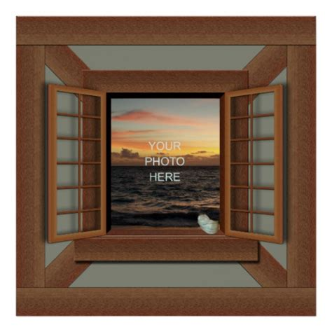 faux window faux window frame poster add your photo zazzle