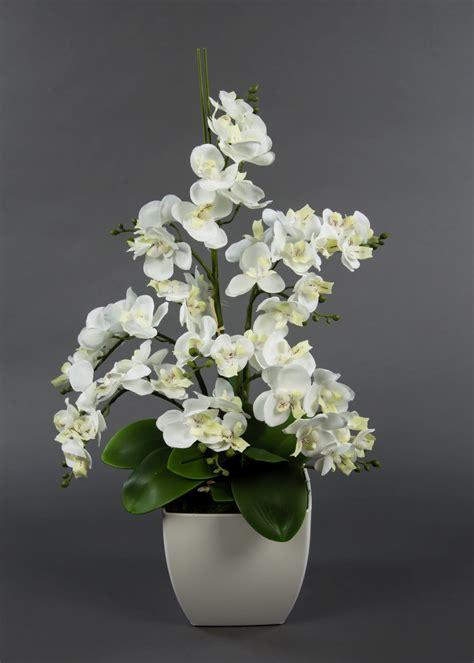 kunstblumen arrangements orchideen arrangement wei 223 im wei 223 en dekotopf ja