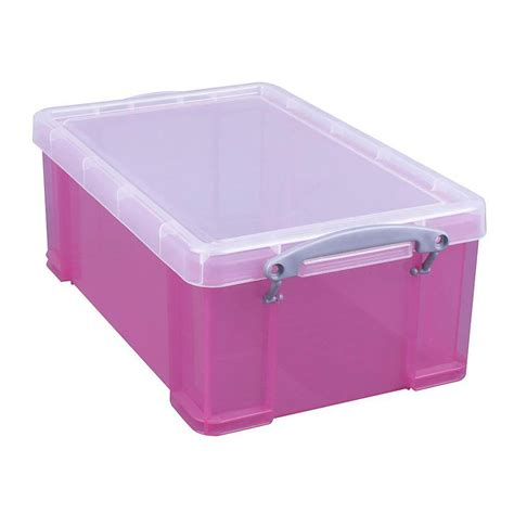 Plastic L Cover by Storage Box With Cover Volume 9 To 35 L Plastic Transparent Pink