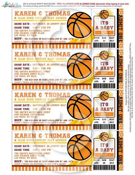 free printable sports tickets basketball ticket pass baby shower printable 2 5 x 7 inch