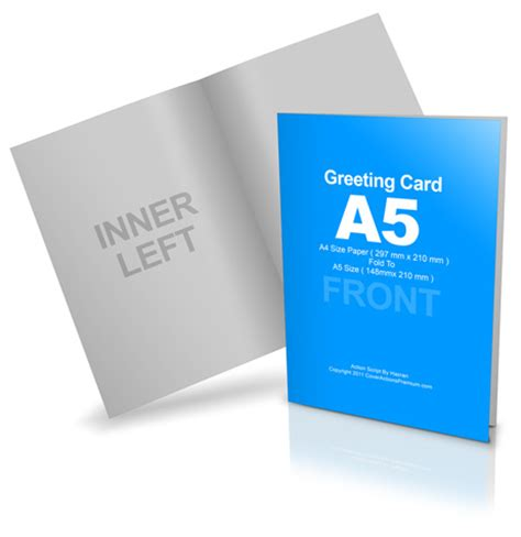 folded card template photoshop cs6 bi fold a5 greeting card mockup cover actions premium