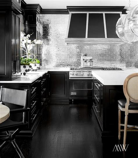 black backsplash in kitchen black kitchen with silver subway tile backsplash