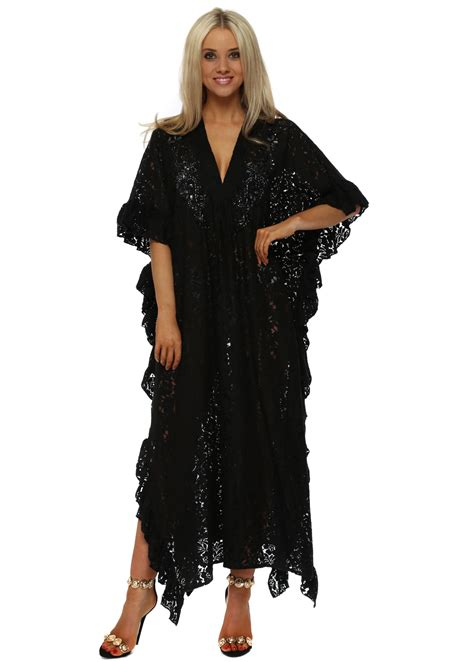 kaftan sartika dress pesta p antica sartoria black lace maxi kaftan dress