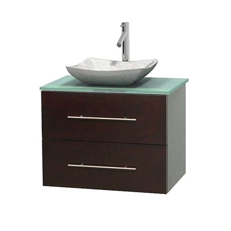Green Glass Vanity Top by Wyndham Collection Centra 30 In Vanity In Espresso With