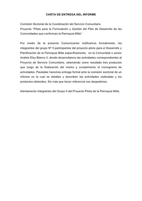 Carta De Culminacion De Servicio Comunitario informe completo