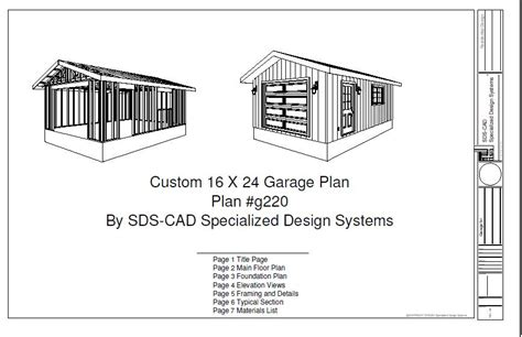 16 X 30 Garage Plans by G220 16 X 24 Garage Plan Blueprints Free House Plan Reviews