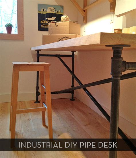 iron pipe desk plans awesome diy pipe table plus free downloadable plans