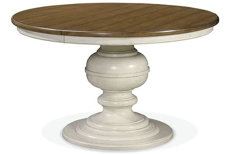 Summer Hill White Single Round Pedestal Extendable Dining