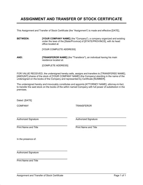 Assignment And Transfer Of Stock Certificate Template Sle Form Biztree Com Transfer Agreement Template