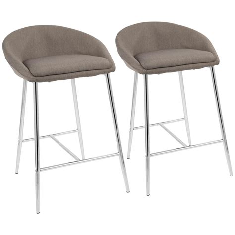 light grey bar stools with arms lumisource matisse 26 in chrome and grey fabric