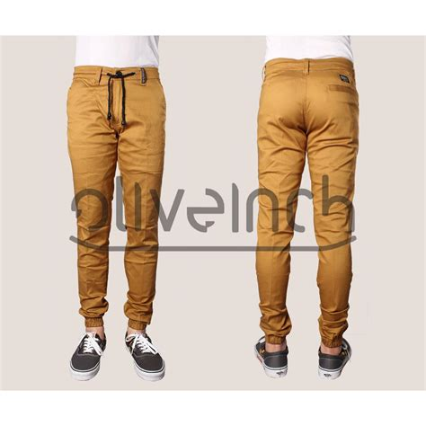 Black Bahan Stretch oliveinch jogger 4 colors size 28 38 bahan cotton twill stretch elevenia