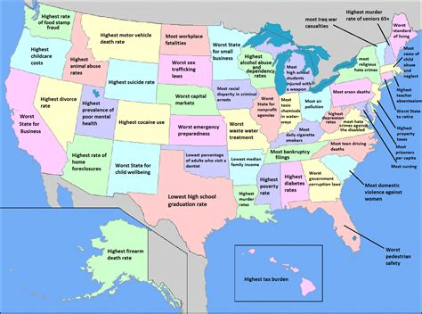 map of usa showing each state what your favorite us state is worst at elephant journal