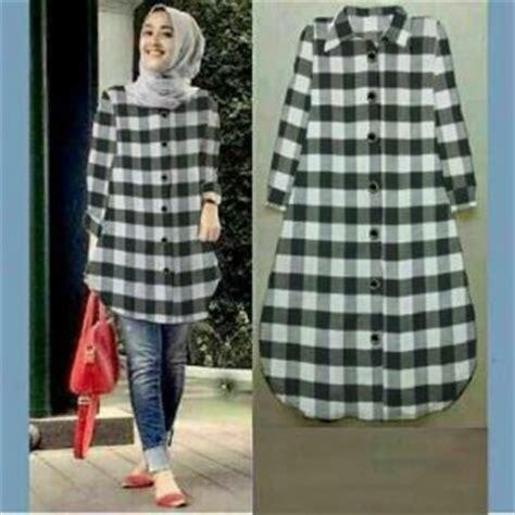 Baju Atasan Kemeja Tunik Wanita Cewek Lengan Panjang Riasha Blouse baju kemeja wanita motif kotak cantik terbaru murah