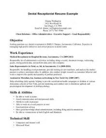 Sle Resume For Dental Receptionist by Receptionist Cv Front Office Manager Resume Exle Receptionist Description Resume Resume