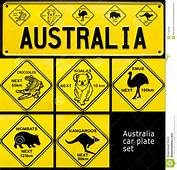 Collage Of Souvenir Car Plate With Australia Word And Australian