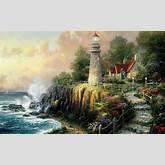 Thomas Kinkade deniz feneri çalışması / Yağlı Boya Tablolar ve ...