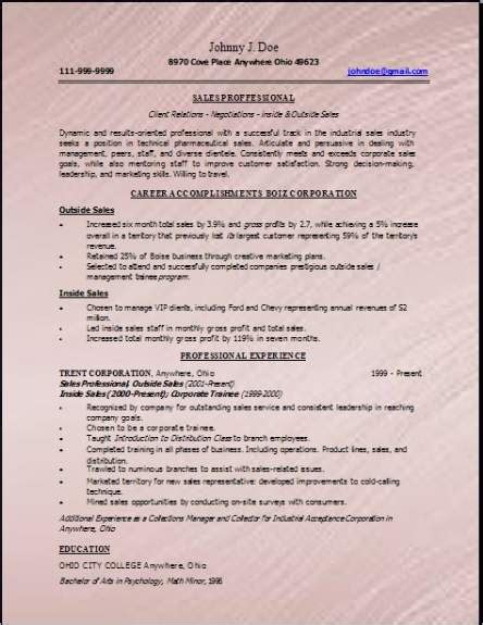 technical sales resume occupational exles sles free