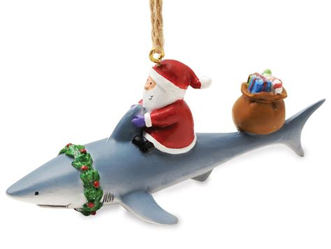 santa riding shark nautical fishing christmas ornament ebay