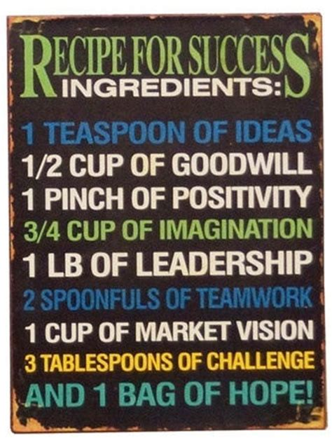 recipe for success the key ingredients for living successfully books recipe for success quote wall success quotes