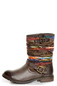colored boots dollhouse yarn brown multi yarn striped ankle boots 49 00