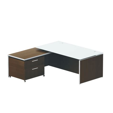 chiarezza 78 quot executive l shaped desk with white frosted