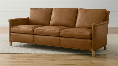 trevor 81 quot camel leather sofa reviews crate and barrel