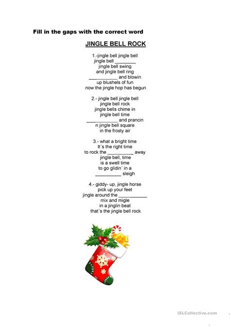 printable version of jingle bells 8 free esl jingle bells worksheets