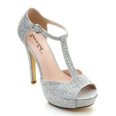 high hill shoes silver high heel platform sandal rhinestone bridal prom