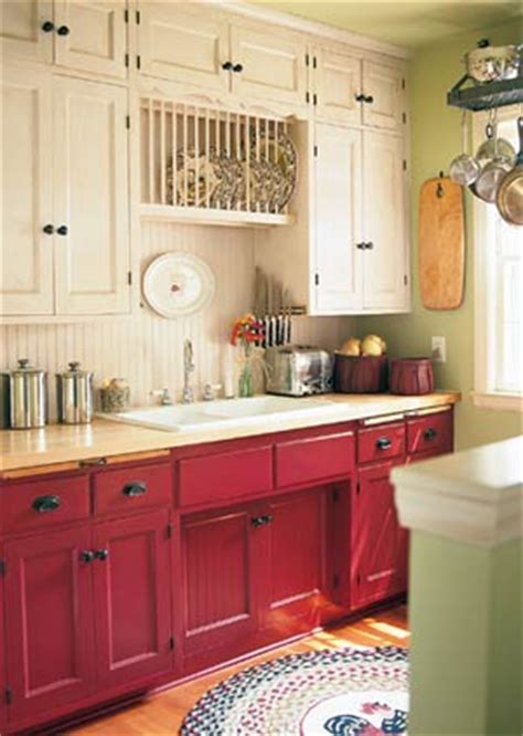 Red Painted Kitchen Cabinets by Painted Kitchen Cabinets