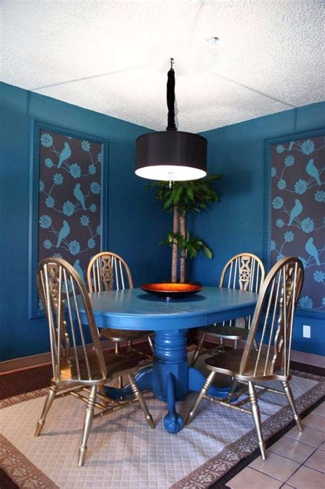 Blue Dining Room Accessories How To Decorate The Dining Room With A Dazzling Wallpaper