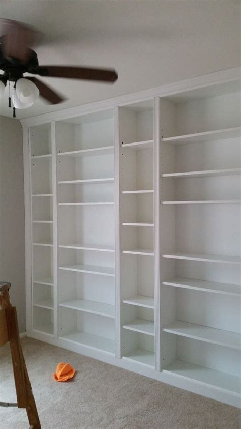 diy library wall billy built  bookcases   home