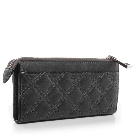 Marc Quilted Wallet by Marc Leather Quilted Zip Clutch Wallet Anthracite 74959