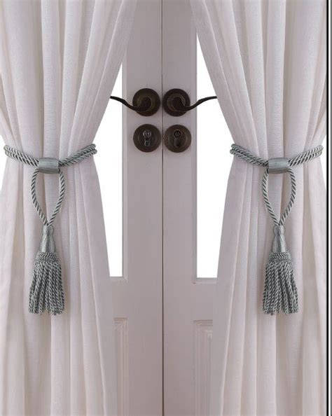 tie back curtains window treatments essential home rope tie backs set of 2 silver home
