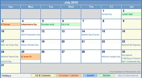 printable calendar events july 2016 calendar events