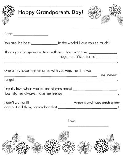 Grandparents Day Fill In The Blank Worksheets