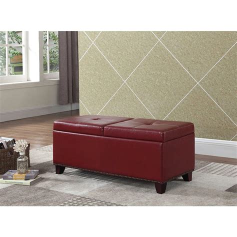storage bench red 15 in red pull out storage bench hb4650 the home depot