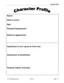 character profile template drama character profile journey s end by r c sherriff home page