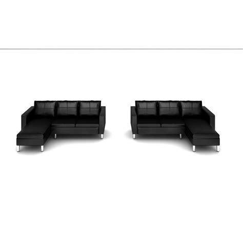 divani pouf divano angolare roma con pouf 205 cm ecopelle bianco nero