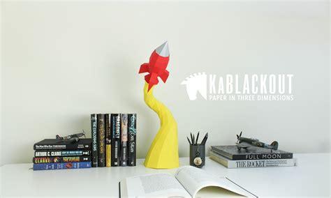 Papercraft Rocket - retro rocket low poly 3d paper sculpture low poly 3d